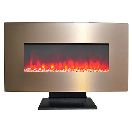 "Cambridge 36"" Metallic Electric Fireplace in Bronze with Multi-Color Display"