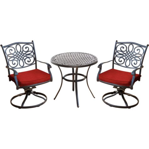 "Hanover Traditions 3-Piece Swivel Bistro Set with 30"" Glass-top Table, Red"