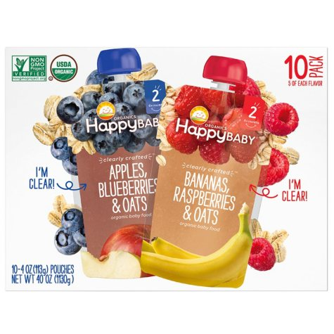 Happy Baby Organic Baby Food Pouches, Mixed Flavors (4 oz., 10 pk.)