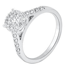 0.95 CT. TW. Round Cut Diamond Engagement Ring in 14K White Gold (I, I1)
