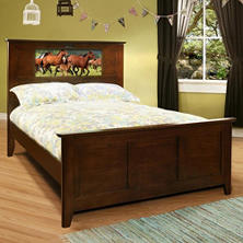 LightHeaded Beds Shaker Full Bed with Changeable Backlit LED Headboard Imagery (Assorted Colors)