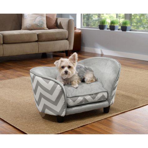 Enchanted Home Pet Ultra Plush Snuggle Pet Bed, Grey Chevron
