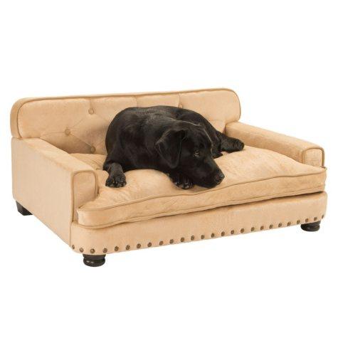 Enchanted Home Pet Ultra Plush Caramel Library Pet Sofa