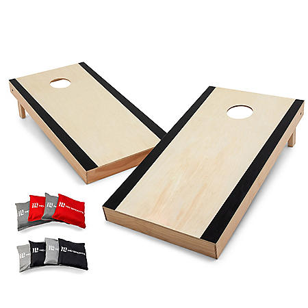 Tournament Edition, 4' x 2' Official Size, Premium Pine Wood Cornhole Boards Set with 8 All-Weather Bean Bags