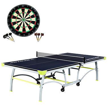 Dunlop Premium Table Tennis Table With Bonus Dartboard Set