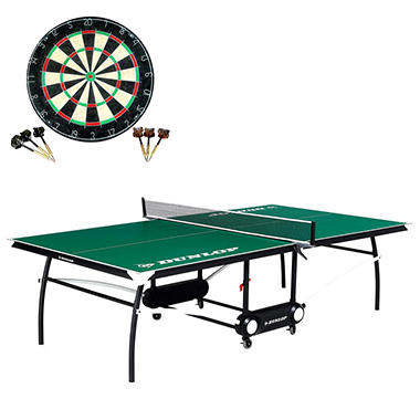Dunlop Table Tennis Table with Bonus Dartboard Set