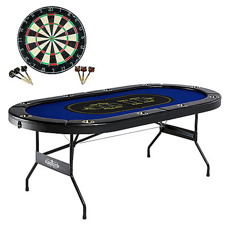 Barrington 10-Player Poker Table with Bonus Dartboard Set