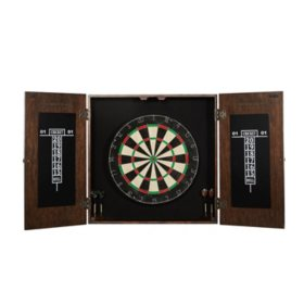 Barrington Webster Bristle Dartboard and Solid Wood Cabinet Set