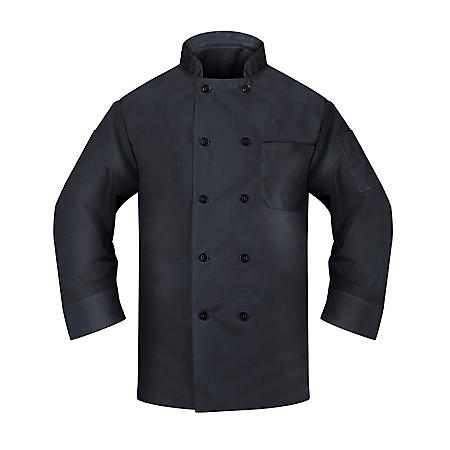 Chef Coat with Long Sleeve, 2 Pockets (1 Thermoter, 1 Chest), Pearl Button in Black (2 Pack) -Choose your size