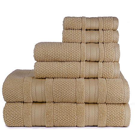 Grace Textured Zero-Twist 6-Piece Bath Towel Set