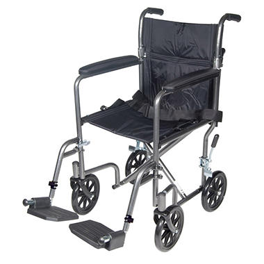 Lightweight Steel Transport Wheelchair, Fixed Full Arms, 17