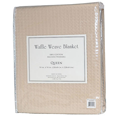 100% Cotton Waffle Weave Blanket (Assorted Colors & Sizes)
