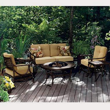 Belize Fire Pit Outdoor Furniture Set   6 Pc.