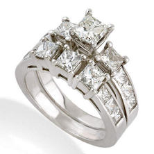 3.50 CT. T.W. Princess Diamond Ring Set in 14k White Gold (H-I, SI2)