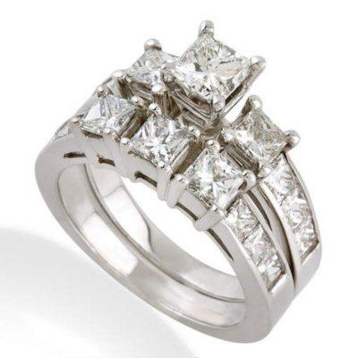 350 CT TW Princess Diamond Ring Set in 14k White Gold H I