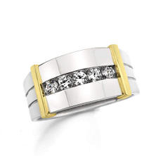1.00 ct. t.w. Men's 5-Stone Diamond Ring in 14k White & Yellow Gold (H-I, I1)