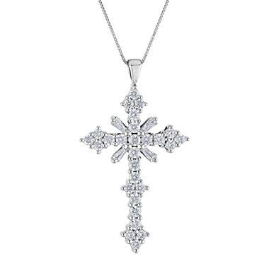 0.46 CT. T.W. Diamond Cross Pendant