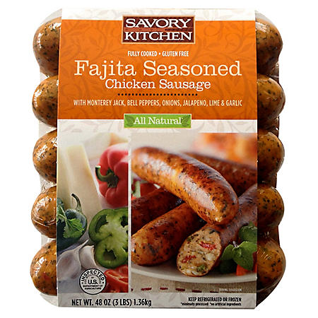 Savory Kitchen Fajita Seasoned Chicken Sausage with Monterey Jack - 48 oz.
