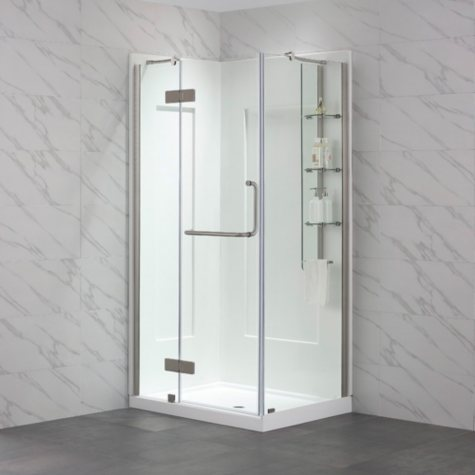 "OVE Decors Dalia Matte Silver Shower Kit (40"" x 32"")"