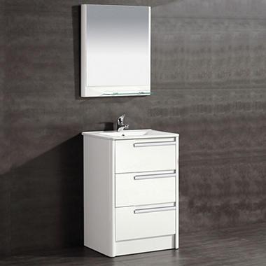 OVE Decors Modena 24 In. Bathroom Vanity In Glossy White
