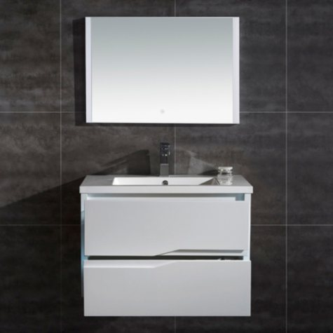 "OVE Decors Vela 32"" LED Double Drawer Vanity with LED Mirror"