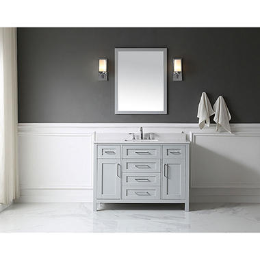OVE Decors Tahoe In Bathroom Vanity With Mirror Dove Grey - 48 gray bathroom vanity