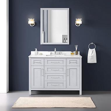 OVE Decors Tahoe In Bathroom Vanity With Mirror Dove Grey - 48 gray bathroom vanity