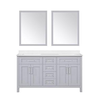 OVE Decors Tahoe 60 in. Bathroom Vanity with Mirror (Dove Grey ... on dual sink vanity, 16 inch sink vanity, ramp sink vanity,