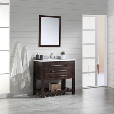 Ove Decors Harry 36 In Bathroom Vanity In Java Brown With Carrara