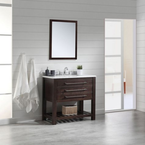 OVE Decors Harry 36-in. Bathroom Vanity in Java Brown with Carrara Marble Countertop