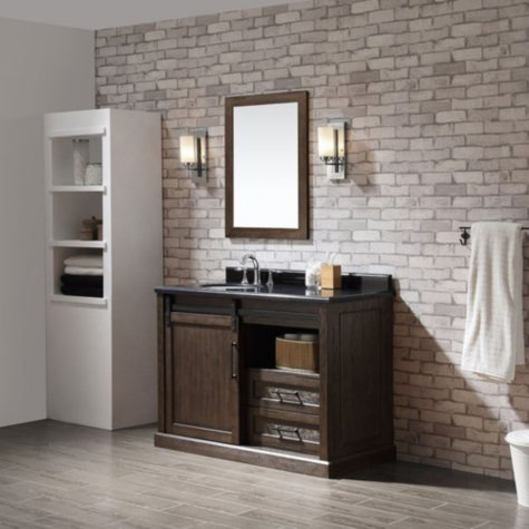 OVE Decors Laredo 48-in. Vanity in Rustic Walnut Finish with Black Granite Countertop