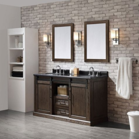 OVE Decors Laredo 60-in. Vanity in Rustic Walnut Finish with Black Granite Countertop