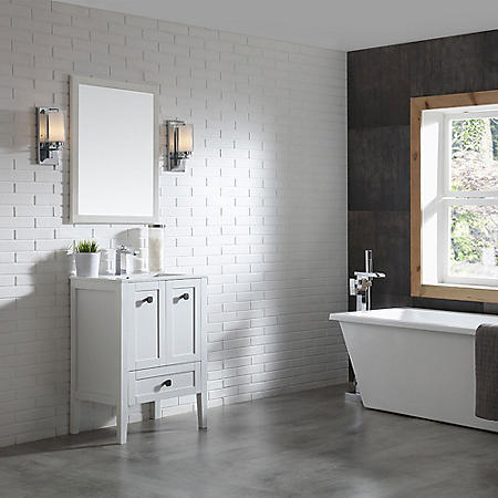 OVE Decors Andora 24-in. Bathroom Vanity in Matte White with Ceramic Countertop and Sick