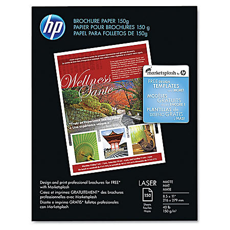 HP Color Laser Brochure Paper, 40lb, 98 Bright, 8 1/2 x 11, White, 150 Sheets