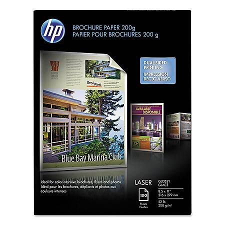 HP Laser Brochure Paper, 52 lb, Glossy, 8 1/2 x 11, 100 Sheets