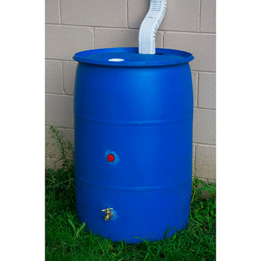 55 Gallon Blue Recycled Rain Barrel