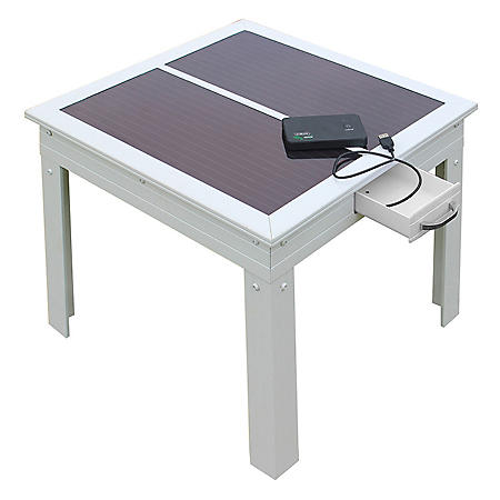 Savana Solar Power Patio Table in White with Powerbank 5 - Charges Portable Devices