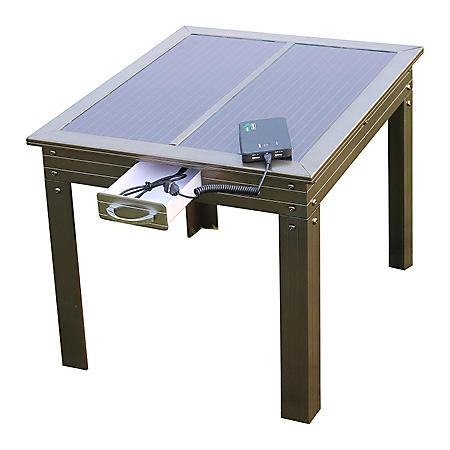Savana Solar Power Patio Table in Bronze w/ Powerbank 5 - Charges Portable Devices