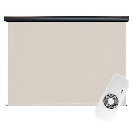 Rechargeable Motorized Outdoor Sun Shade With Protective Valance - Chalk