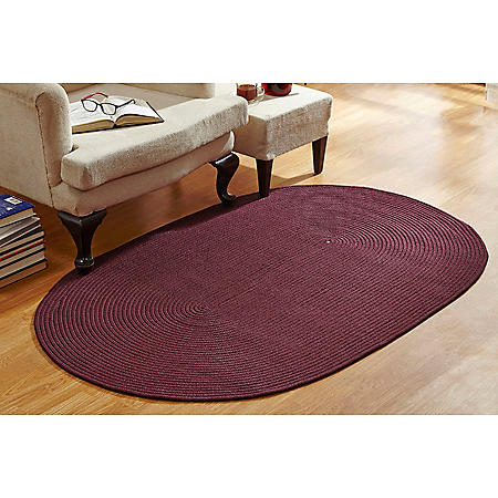 CountryBraid Solid Burgundy Braided Rug