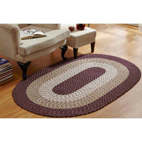 CountryBraid Stripe Burgundy Braided Rug