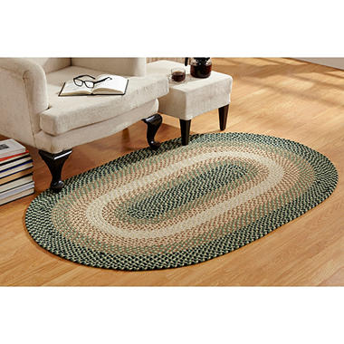 Woodbridge Wool 6' Round Green Braided Rug