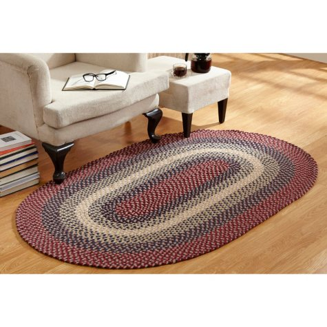 Woodbridge Wool 6' Round Cranberry Braided Rug
