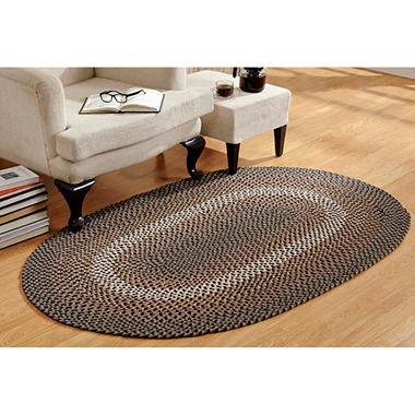 Woodbridge Wool 6' Round Black Braided Rug