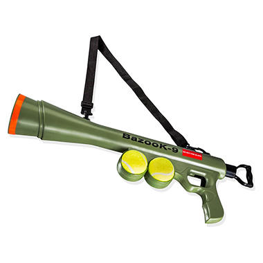 ball thrower. oxgord bazook-9 tennis ball launcher bundle (two squeaky dog toys and thrower