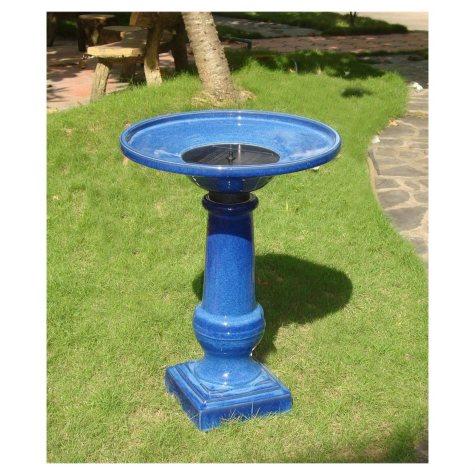 Athena Ceramic Solar-On-Demand Birdbath - Cobalt Blue