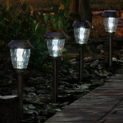 Charleston 6 Pack Solar Lights   Pewter Finish