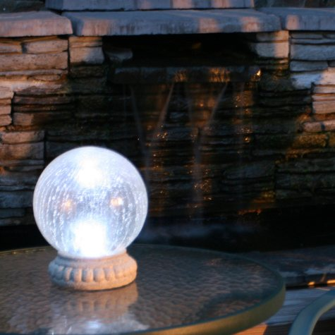 Crackled Glass Solar Gazing Ball with a Tabletop Base