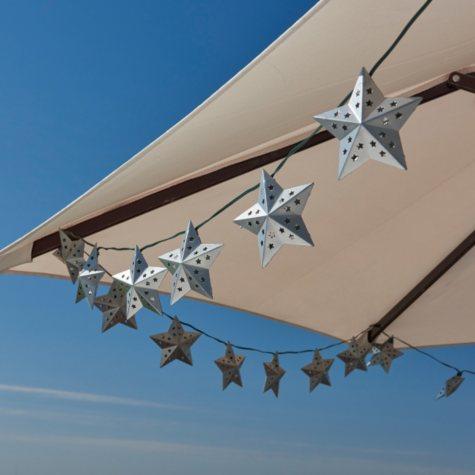 Solar String Light - Metal Star (Silver) - 20 White LEDs