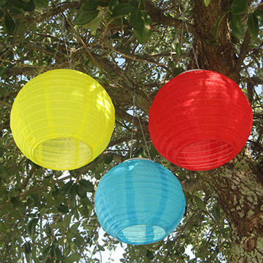 Chinese Solar Lanterns - 3 pk. - Red, Blue and Yellow